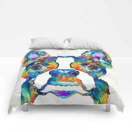 Colorful Boston Terrier Dog Pop Art - Sharon Cummings Comforters