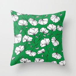 Green Spring Florals Throw Pillow