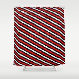 Jiggly Speckled Red Black and White Diagonal Pattern Shower Curtain