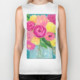 Bouquet of Flowers, Pink and Yellow Flowers, Painting Flowers in Vase Biker Tank