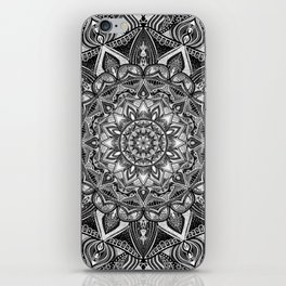 Black and white mandala iPhone Skin