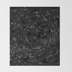 Constellation Map - Black Throw Blanket