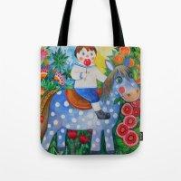 pony Tote Bags featuring Pony by oxana zaika