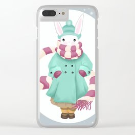Bunny Sister Out On a Winter Day Clear iPhone Case
