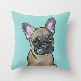 Armand the Frenchie Pup Throw Pillow