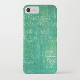 School blackboard green pattern with math equations iPhone Case