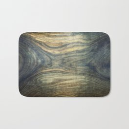 The young boy entrapped inside. Background wooden panel. Bath Mat