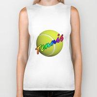 tennis Biker Tanks featuring Tennis by Jimbob1979