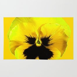 LARGE YELLOW  PANSY ON GOLDEN YELLOW COLOR Rug