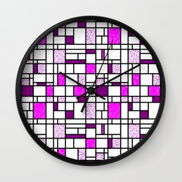 Modern Art Pink and Purple Speckled Grid Pattern Wall Clock