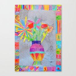 Flower Vase | Kids Painting | 3D Collage Canvas Print
