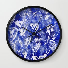 Hearts in blue and white Wall Clock