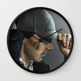 Sherlock and his deerstalker Wall Clock