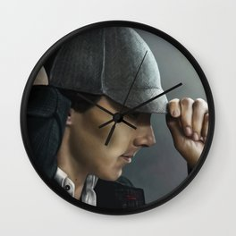 Sherlock and his deerstalker Wall Clock