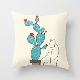 cat cactus cattus Throw Pillow