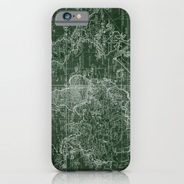 World Map (1778) Green & White iPhone Case