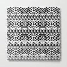 Aztec Geometric Print - Black Metal Print
