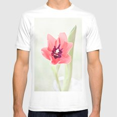 Pretty Pink Tulip White Mens Fitted Tee MEDIUM