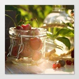 Fresh cherrie in glass Canvas Print