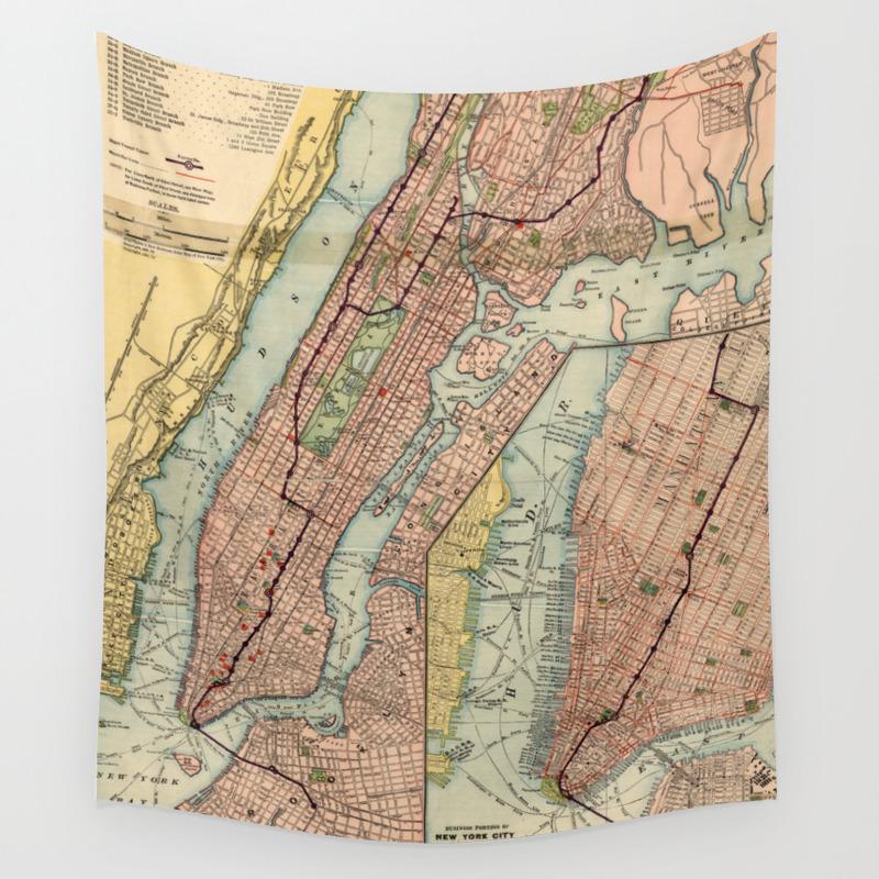Vintage New York City Subway Map.Vintage Nyc Subway Map 1903 Wall Tapestry