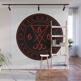 666- the number of the beast with the sigil of Lucifer symbol Wall Mural