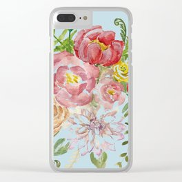 Bouquet of Watercolor on Blue Background Clear iPhone Case