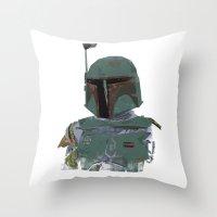 boba fett Throw Pillows featuring Boba Fett by Hey!Roger