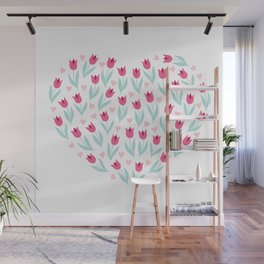 Valentines Day Heart #10 - Pink Tulips Hearts Wall Mural