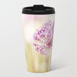 Pink Flower Photography, Purple Floral Art, Pink Beige Photo, Botanical Spring Artwork Travel Mug