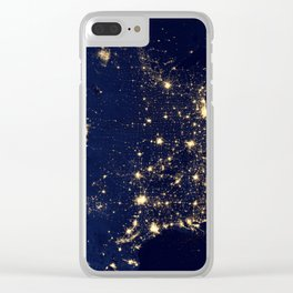 USA Map by Night Clear iPhone Case