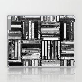 Music Cassette Stacks - Black and White - Something Nostalgic IV #decor #society6 #buyart Laptop & iPad Skin