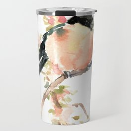 Bullfinch and Spring, Peach colored Floral bird art, spring soft colors Travel Mug