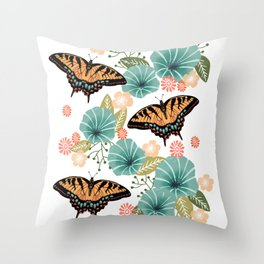 Swallowtail Butterflies - swallowtail butterfly art, floral art, butterfly print, insect, nature study Throw Pillow