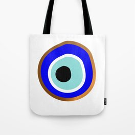 Grecian Gold evil eye in blue on white Tote Bag