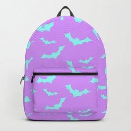 Blue Bat Pattern on Purple Backpack