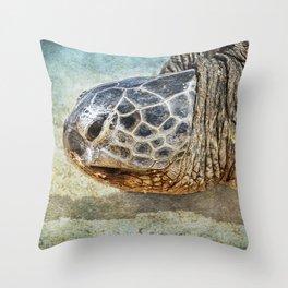 Green Sea Turtle Portrait Throw Pillow