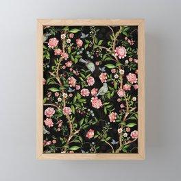 Vintage & Shabby Chic - Antique Midnight Botanical Chinoiserie Garden With Flowers Birds  Framed Mini Art Print