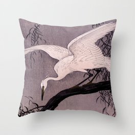 Heron Traditional Japanese Wildlife Throw Pillow