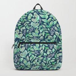 Eucalyptus Garden on Navy Backpack