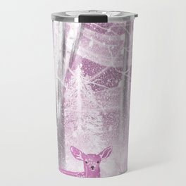 Winter Fawns in Rose Travel Mug