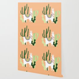 Cute Llama with Cactus Wallpaper