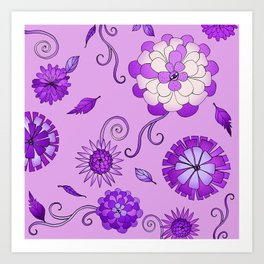 Purple Crazy Daisy pattern Art Print