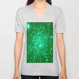 Emerald Green Glitter Stars Unisex V-Neck