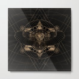 Owl in Sacred Geometry Composition - Black and Gold Metal Print