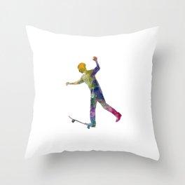 Man skateboard 06 in watercolor Throw Pillow