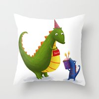 dinosaurs Throw Pillows featuring Dinosaurs by IllustrateLucy
