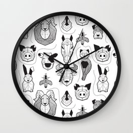 Friendly Geometric Farm Animals // white background black and white pigs queen bees lambs cows bulls dogs cats horses chickens and bunnies Wall Clock