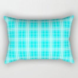 Neon Aqua Blue and White Tartan Plaid Check Rectangular Pillow