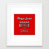 netflix Framed Art Prints featuring Netflix Chill  by Rassva