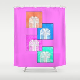 A Pop Of British Style Art - The Phone Box Shower Curtain